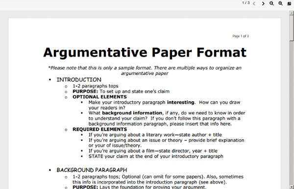 Argument essay outline format